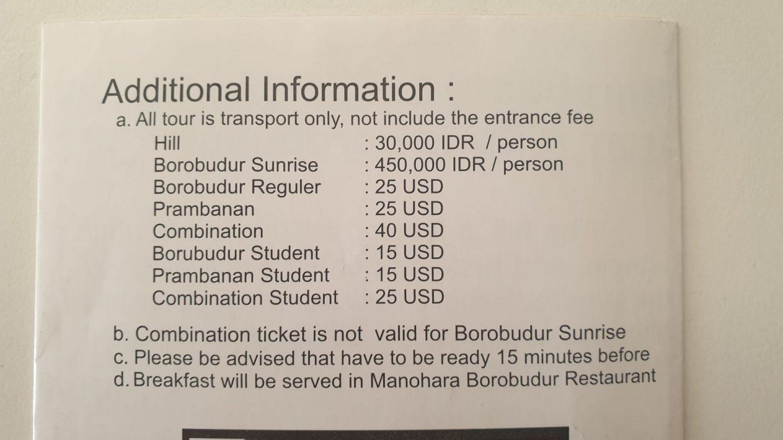 Preço das entradas Templo Borobudur e Prambanan